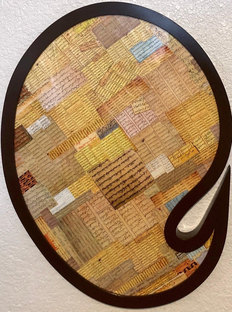 Shaped Collage Painting in Carved Wood Frame Iranian American Contemporary Art - Brown Abstract Sculpture by Andisheh Avini