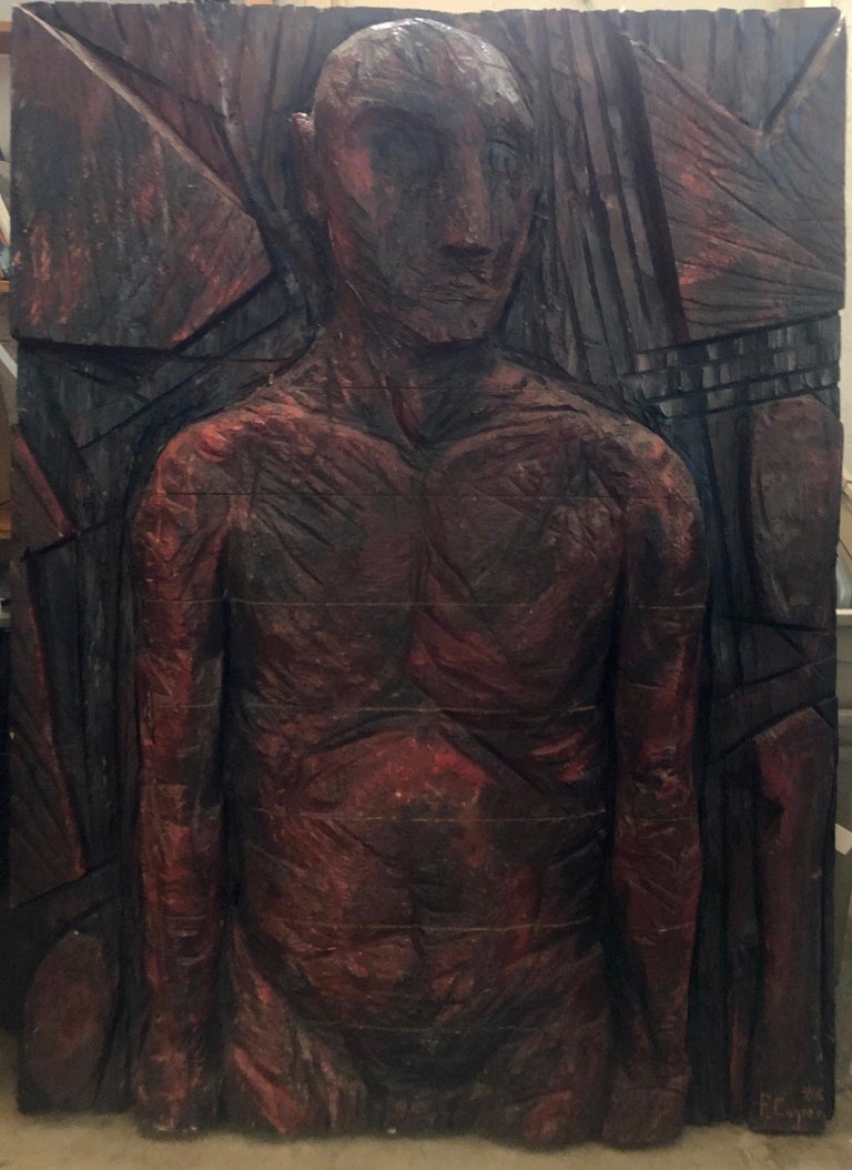 Philippe Cognee Carved Painting  Expressionist Wood Relief Sculpture African Art For Sale 4