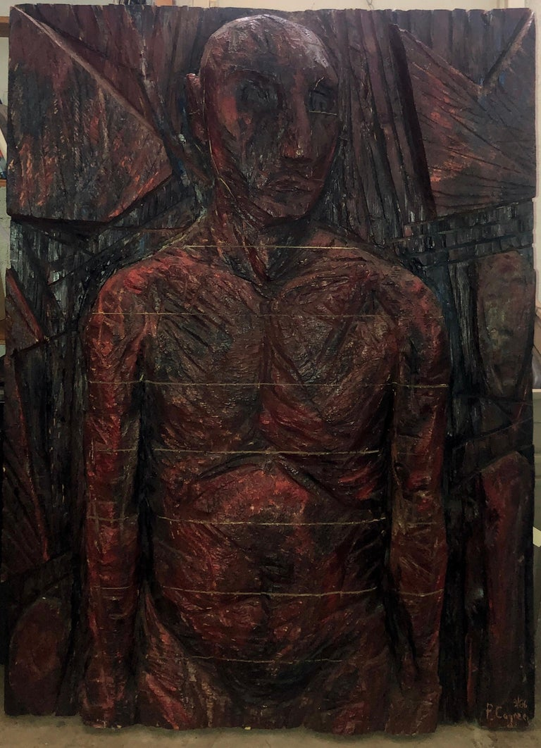 Philippe Cognee Carved Painting  Expressionist Wood Relief Sculpture African Art For Sale 3