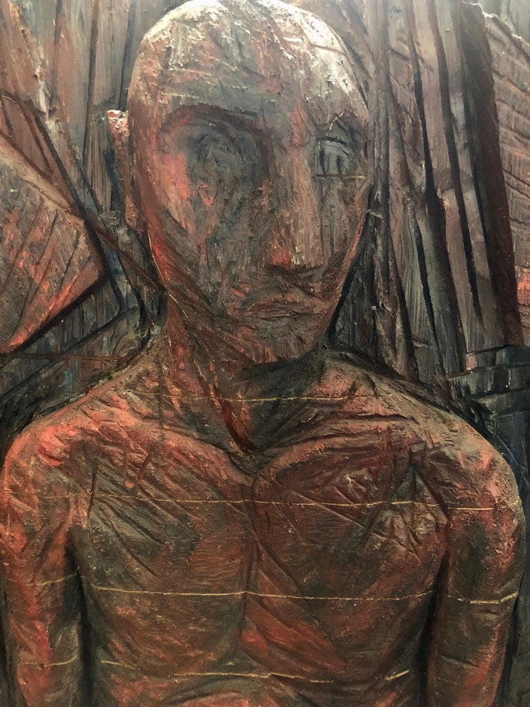 Philippe Cognee Carved Painting  Expressionist Wood Relief Sculpture African Art For Sale 2