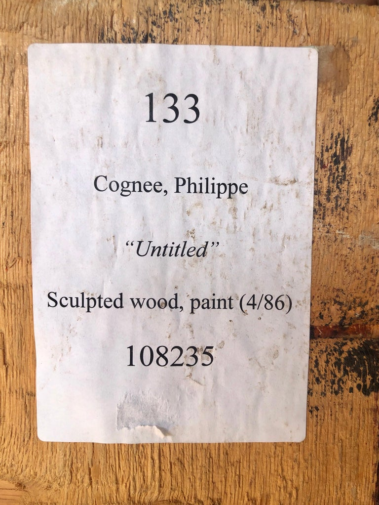 Philippe Cognee Carved Painting  Expressionist Wood Relief Sculpture African Art For Sale 9
