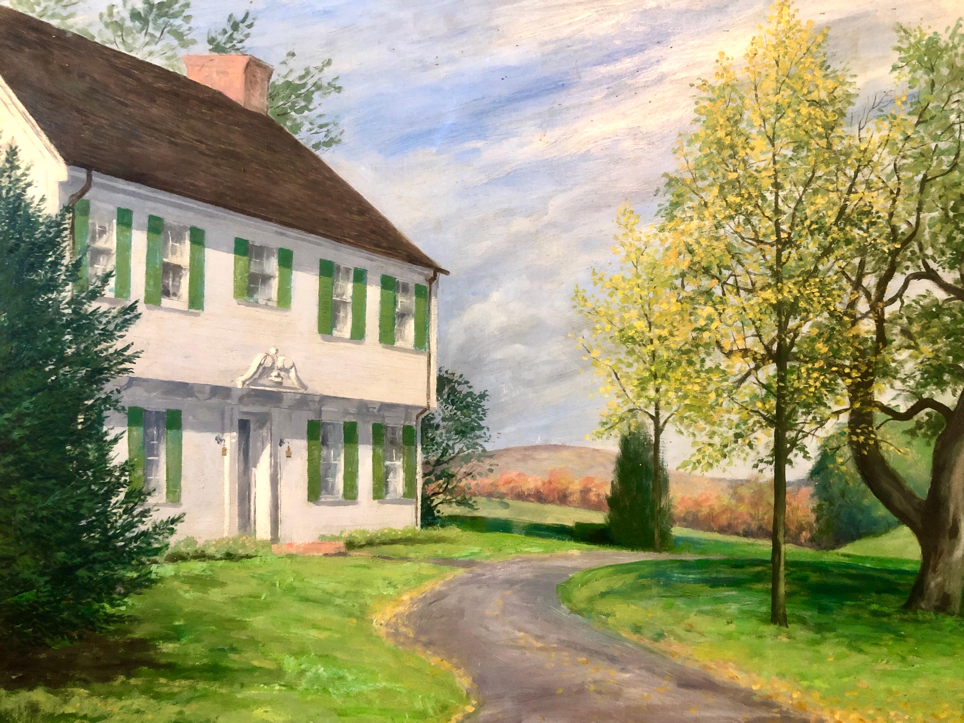 1946 WPA Ohio Artist Russel Limbach American Colonial Home Oil Painting
