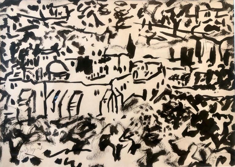 Eran Wolkowski Landscape Painting - Abstract Jerusalem Landscape Old City Landscape Gouache Painting Bezalel Artist