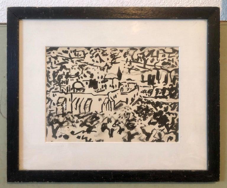 Abstract Jerusalem Landscape Old City Landscape Gouache Painting Bezalel Artist For Sale 2