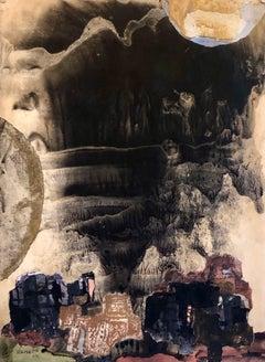 Kibbutz Abstract Jerusalem Nightscape Israeli Tempera Collage Painting Judaica