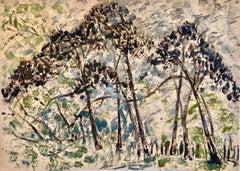 Kibbutz Artist Abstract Jerusalem Forest Trees Israeli Oil Painting Judaica