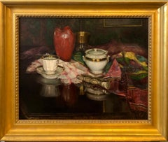 1925 Viennese Oil Painting Interior Still Life with Porcelain Vase, Tapestry Rug
