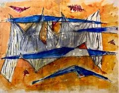 Rare Dada Artist Israeli Watercolor Painting Abstract  Landscape Marcel Janco