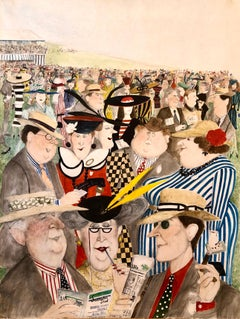 "Rare Large Original British Illustration Art Watercolor Painting ""Horse Races"""