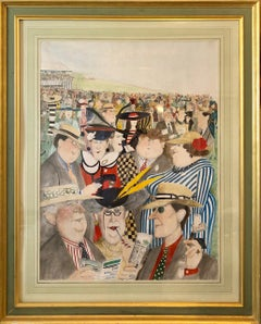 "Rare Large Original British Illustration Art Watercolor Painting ""Horse Races"""