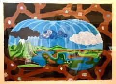 Scoli Acosta Large Contemporary Mixed Media Painting LA Artist External Horizons