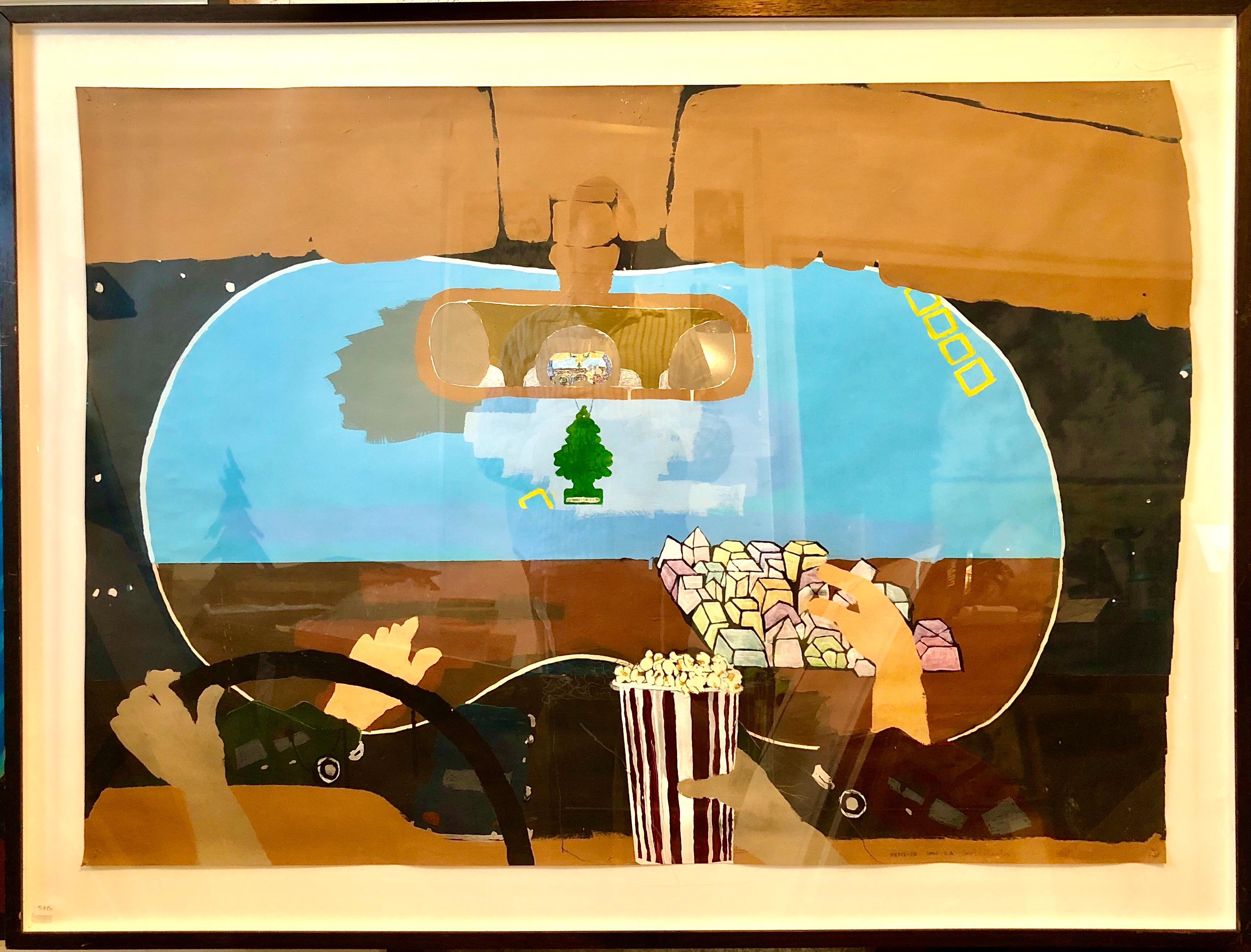 Scoli Acosta Large Contemporary Mixed Media Painting LA Artist Drive In Movie