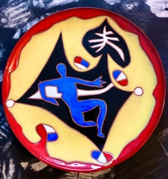 Vintage French Modernist Jean Lurcat Glazed Ceramic Plate Beach Scene, Swimmer
