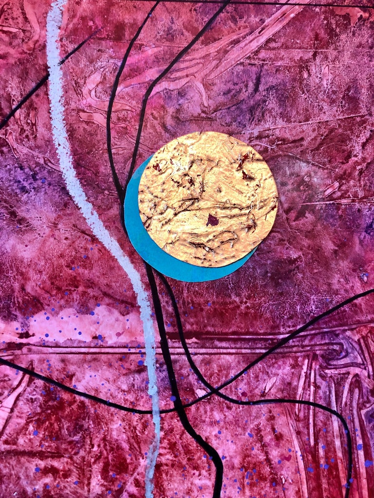 Acrylic Abstract Colorful Contemporary  Gilt Collage Painting Gold Leaf Gilding For Sale 3
