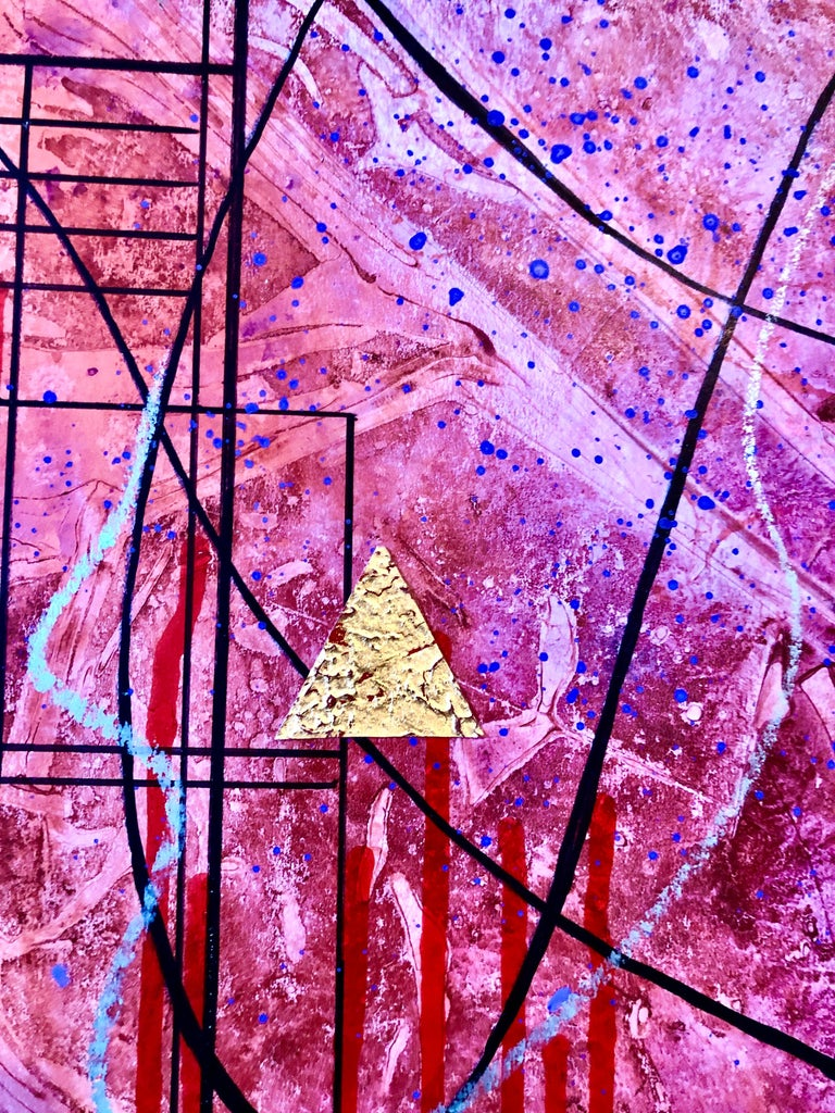 Acrylic Abstract Colorful Contemporary  Gilt Collage Painting Gold Leaf Gilding For Sale 4