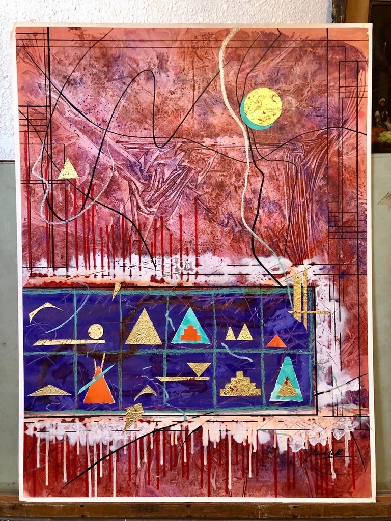 Acrylic Abstract Colorful Contemporary  Gilt Collage Painting Gold Leaf Gilding For Sale 5