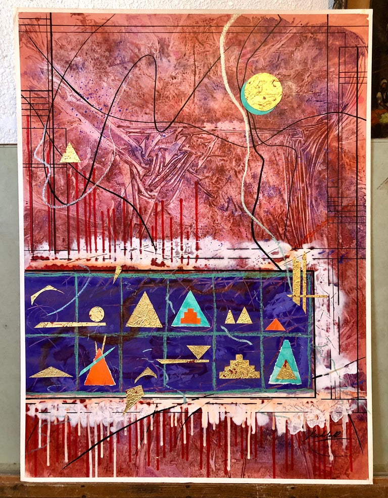 Acrylic Abstract Colorful Contemporary  Gilt Collage Painting Gold Leaf Gilding For Sale 6