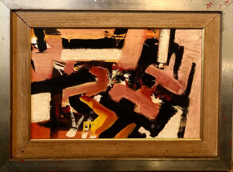 framed 18 X 24 sight 11.5 X 17.5   Giuseppe Napoli (1929 - 1967) New York.  Giuseppe Napoli is a mid century modernist known for abstract painting and sculpture-portrait, still life, figurative art. Giuseppe Napoli was a Mid-Century Modernist Artist