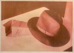 Large Vintage Photograph Polaroid Transfer Photo Print Borsalino Hat Signed 1996
