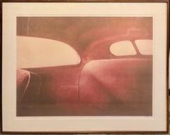 Large Photograph Polaroid Transfer Photo Print Vintage Automobile Interior