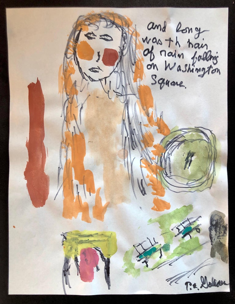 Modernist Watercolor Painting Peter Goldman American Filmmaker Neo Expressionist For Sale 2