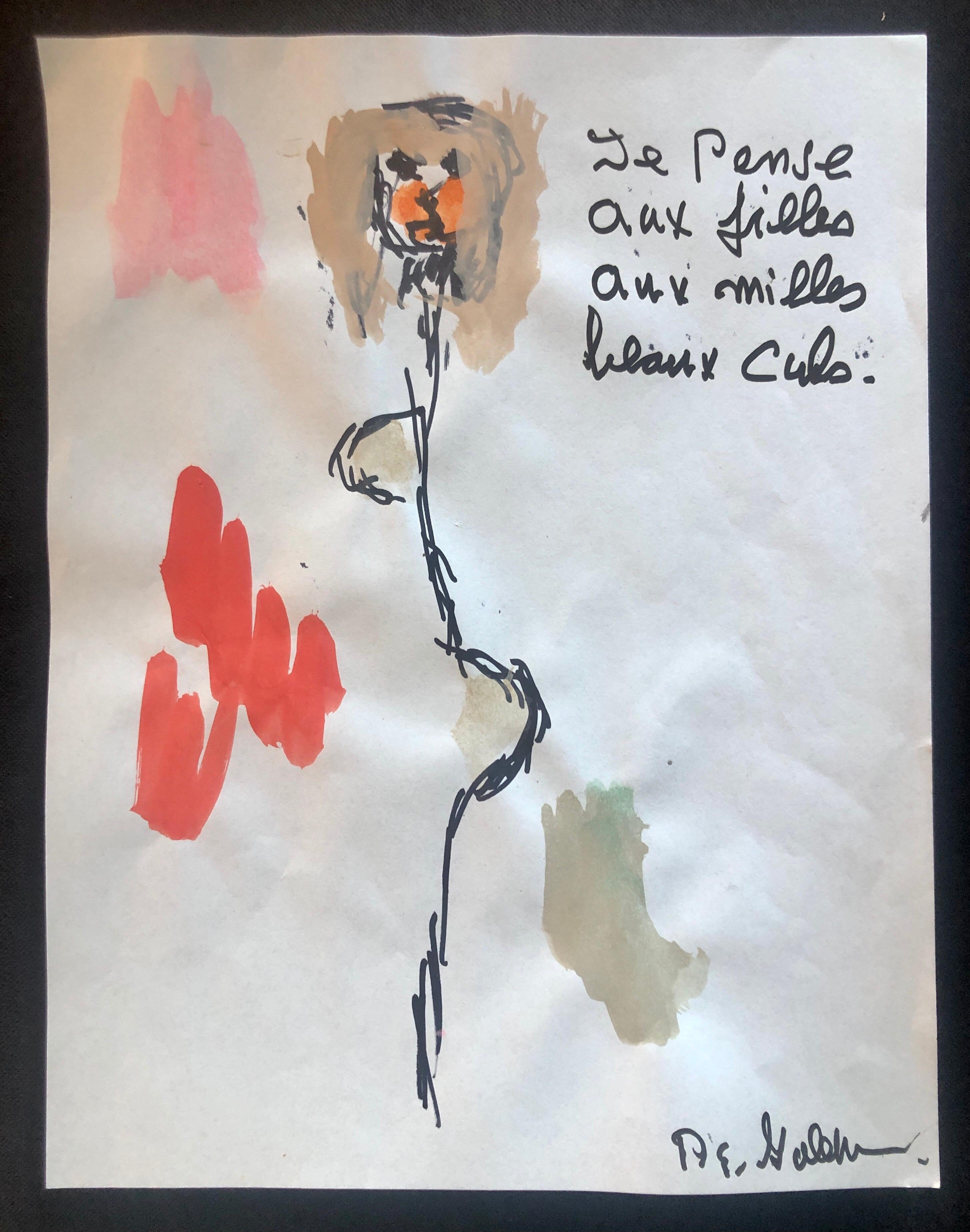 Modernist Watercolor Painting Peter Goldman American Filmmaker Neo Expressionist