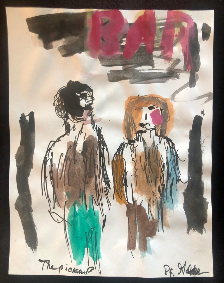 Peter Emanuel Goldman Figurative Art - Modernist Watercolor Painting Peter Goldman American Filmmaker Neo Expressionist
