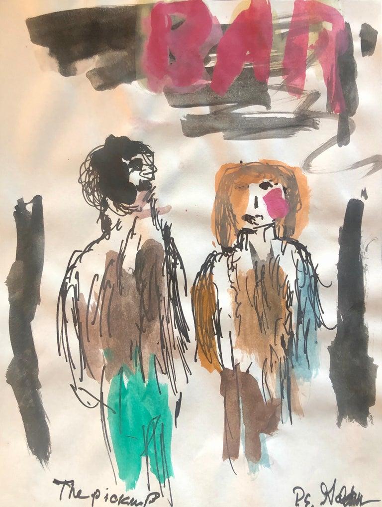 Modernist Watercolor Painting Peter Goldman American Filmmaker Neo Expressionist - Art by Peter Emanuel Goldman
