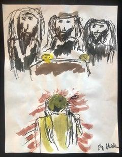 Modernist Watercolor Painting Peter Goldman Judaica Filmmaker Neo Expressionist