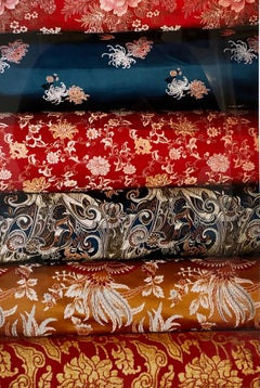 Vintage Photograph Cibachrome Barkhor Bazaar Colorful Silk Vibrant Photo Print