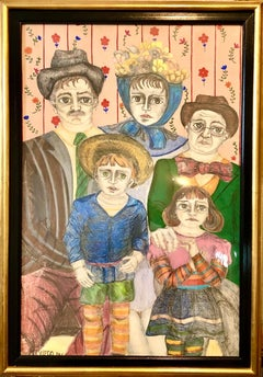 Latin American Folk Art Family Portrait Colombian Naive Painting, Color Drawing