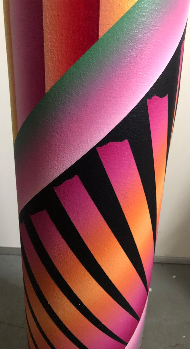 George Snyder Acrylic painting on canvas tubular sculpture Abstract composition of blue, purple, orange, red, yellow, and black geometric shapes on rolled canvas tube.  Signed, dated, and titled
