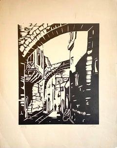 German Expressionist Woodcut Woodblock Print Old City Jerusalem Israel Judaica