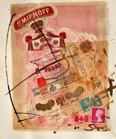 Canadian Art MIxed Media Collage Assemblage Painting Hebrew Stamp Smirnoff Vodka