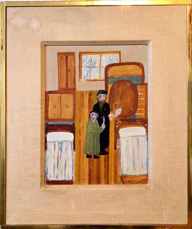Polish Naive Oil Painting Jewish Shtetl Folk Art Passover Chametz Search Judaica - Brown Interior Painting by Harry Lieberman