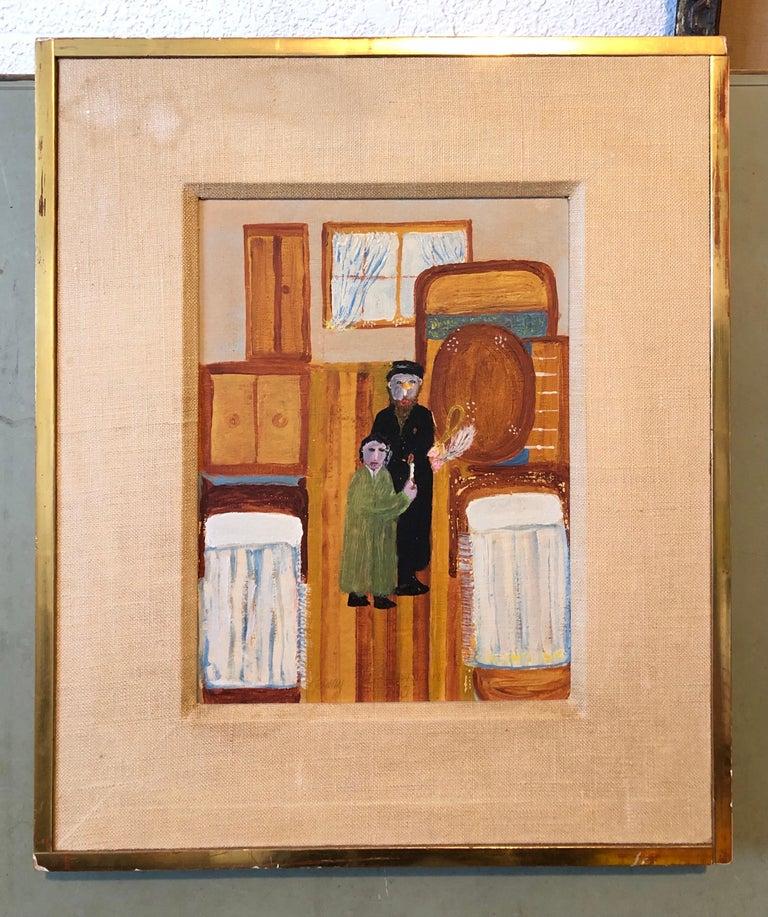 Polish Naive Oil Painting Jewish Shtetl Folk Art Passover Chametz Search Judaica For Sale 7