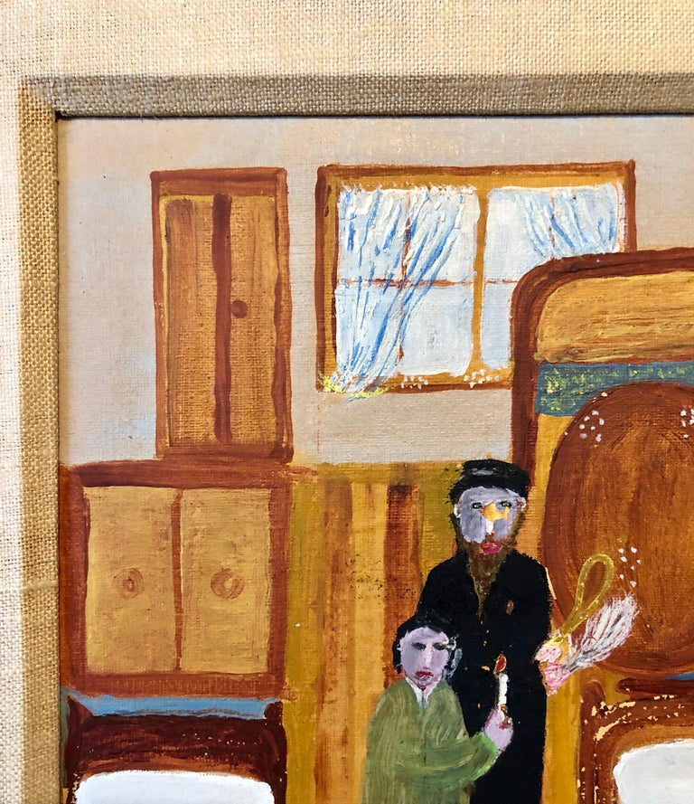 Polish Naive Oil Painting Jewish Shtetl Folk Art Passover Chametz Search Judaica For Sale 4