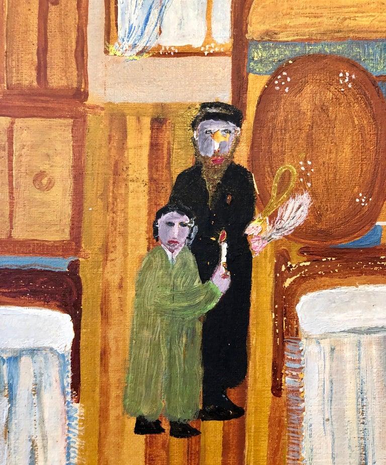 Polish Naive Oil Painting Jewish Shtetl Folk Art Passover Chametz Search Judaica For Sale 6