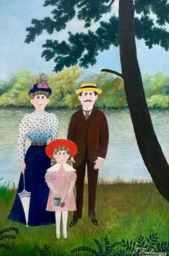 """French Folk Art, Naive, Primitive, Oil Painting """"Family Outing"""" F. Boilauges"""