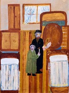 Polish Naive Oil Painting Jewish Shtetl Folk Art Passover Chametz Search Judaica