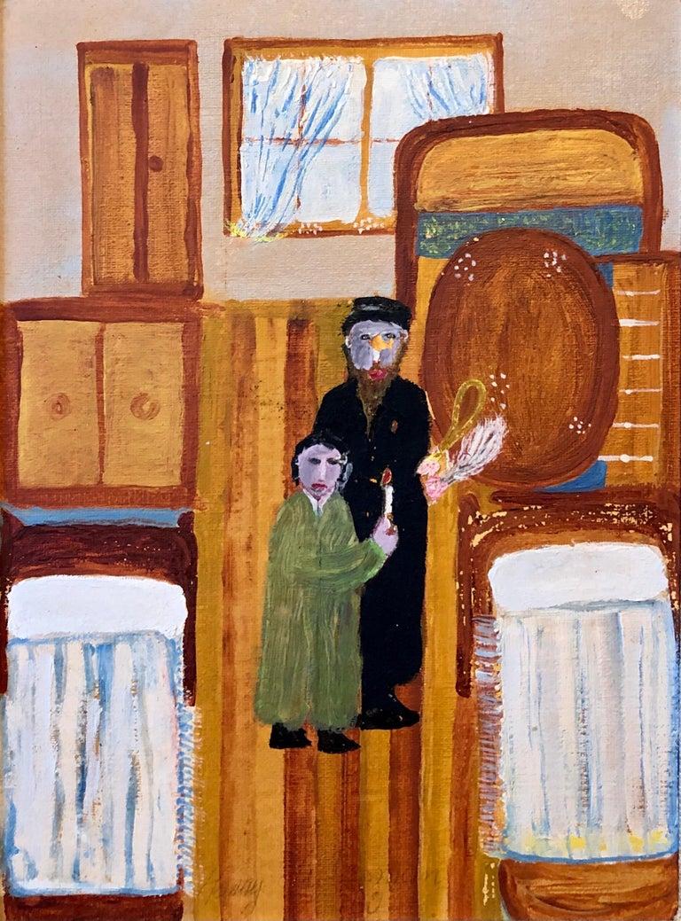 Harry Lieberman Interior Painting - Polish Naive Oil Painting Jewish Shtetl Folk Art Passover Chametz Search Judaica