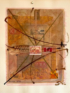 Canadian Art Mixed Media Collage Assemblage Painting Hebrew Canada Stamp