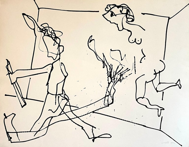 New York School Abstract Expressionist Drawing Watercolor Painting Carmen Cicero - Art by Carmen Cicero