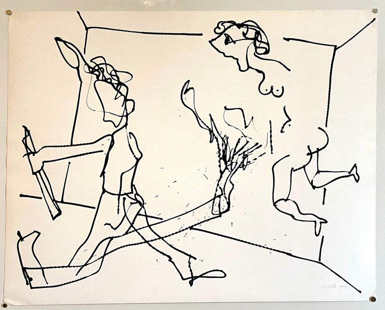 New York School Abstract Expressionist Drawing Watercolor Painting Carmen Cicero For Sale 2