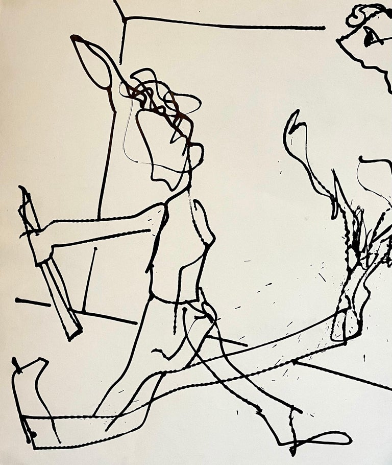 New York School Abstract Expressionist Drawing Watercolor Painting Carmen Cicero For Sale 1