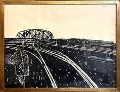 Ink Drawing Painting Train Lines Social Realist WPA Artist Gregorio Prestopino