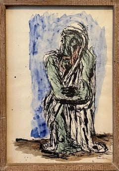 Abstract Expressionist Rabbi Watercolor Painting Jewish American Modernist WPA