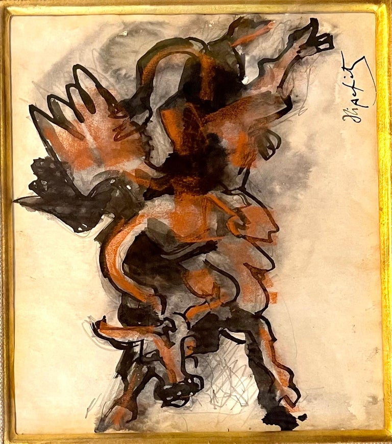 Jacques Lipchitz French Cubist Modernist Gouache Painting Sculpture Study For Sale 1