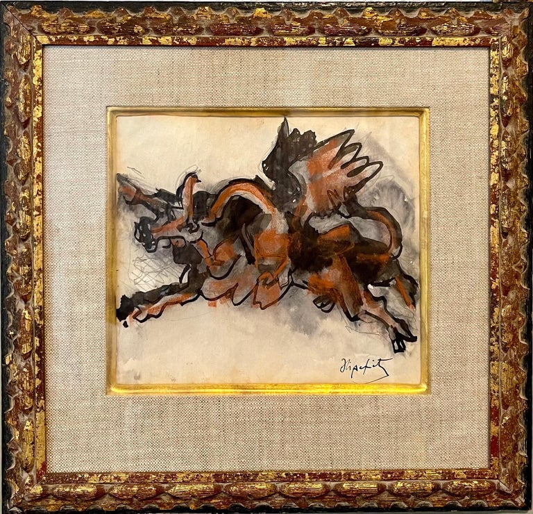 Jacques Lipchitz, Lithuanian-French, 1891-1973.   Mixed media on paper  Cubist style depiction of Taurus the bull and a condor.   Hand signed