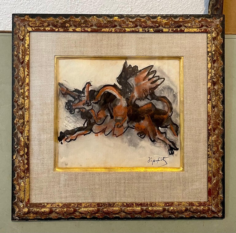 Jacques Lipchitz French Cubist Modernist Gouache Painting Sculpture Study For Sale 3